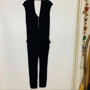 LF Black Lycra jumpsuit stylish and comfy L